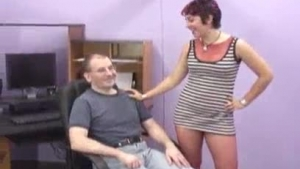 Hadee Dunlop likes to suck her boy's big cock, while kneeling in front of him