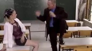 Lovely theater teacher lets her students fuck her in the classroom while no one is watching them in action