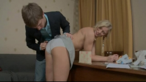 Blonde woman is having wild sex and enjoying it more than anything else, because she likes it rough