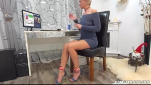 Horny real amateur step mom at work